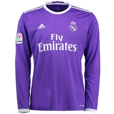 Adidas Real Madrid Away '16-'17 Long Sleeve Soccer Jersey (Purple/White)