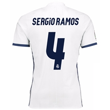 Adidas Real Madrid Authentic 'SERGIO RAMOS 4' Home '16-'17 Soccer Jersey (White/Blue)