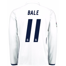 Adidas Real Madrid 'BALE 11' Home '16-'17 Long Sleeve Soccer Jersey (White/Blue)