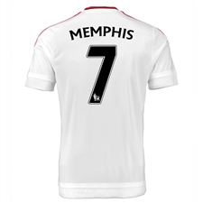 Adidas Manchester United 'MEMPHIS 7' Away '15-'16 Soccer Jersey (White/Real Red)