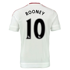 Adidas Manchester United 'ROONEY 10' Away '15-'16 Soccer Jersey (White/Real Red)