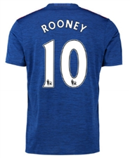 "Adidas Manchester United ""ROONEY 10"" Away '16-'17 Soccer Jersey (Royal Blue/Red)"