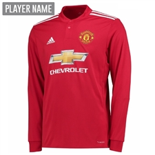 Adidas Manchester United Home '17-'18 Long-Sleeve Soccer Jersey (Real Red/White/Black)