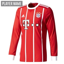 Adidas Bayern Munich Home '17-'18 Long Sleeve Soccer Jersey (Red/White)