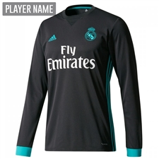 Adidas Real Madrid Away '17-'18 Long Sleeve Soccer Jersey (Black/Aero Reef)