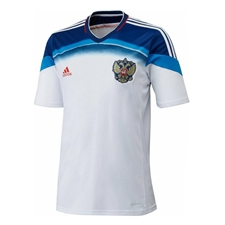 Adidas Russia 2014 Away Replica Soccer Jersey (White/Dark Blue/Bright Blue)