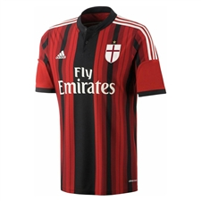 Adidas AC Milan Home 2014-2015 Replica Soccer Jersey (Black/Victory Red/White)