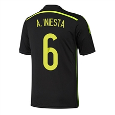 Adidas Spain 'A. INIESTA 6' Away 2014 Replica Soccer Jersey (Black/Electricity/Dark Shale)