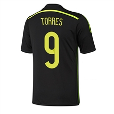 Adidas Spain 'TORRES 9' Away 2014 Replica Soccer Jersey (Black/Electricity/Dark Shale)