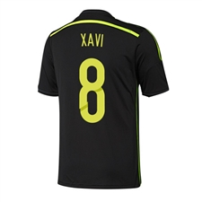 Adidas Spain 'XAVI 8' Away 2014 Replica Soccer Jersey (Black/Electricity/Dark Shale)