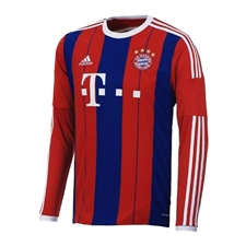 Adidas Bayern Munich Home '14-'15 Long Sleeve Replica Soccer Jersey (FCB True Red/Collegiate Royal/White)
