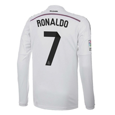 Adidas Real Madrid 'RONALDO 7' Home '14-'15 Long Sleeve Soccer Jersey (White/Black/Blast Pink)