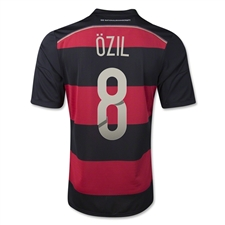 Adidas Germany 'OZIL 8' Away 2014 Replica Soccer Jersey (Black/Victory Red/Metallic Silver)