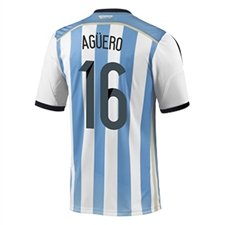 Adidas Argentina 'AGUERO 16' Home 2014 Replica Soccer Jersey (White/Columbia Blue/Argentina Blue/Black)