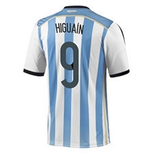 Adidas Argentina 'HIGUAIN 9' Home 2014 Replica Soccer Jersey (White/Columbia Blue/Argentina Blue/Black)