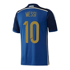 Adidas Argentina 'MESSI 10' Away 2014 Replica Soccer Jersey (Pride Ink/Collegiate Navy/Light Football Gold/White)