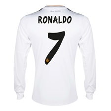 Adidas Real Madrid 'RONALDO 7' Long Sleeve Home '13-'14 Replica Soccer Jersey (White/Lead/Orange)