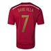Adidas Spain 'DAVID VILLA 7' Home 2014 Replica Soccer Jersey (Victory Red/Light Football Gold/Toro)