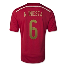 Adidas Spain 'A. INIESTA 6' Home 2014 Replica Soccer Jersey (Victory Red/Light Football Gold/Toro)