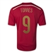 Adidas Spain 'TORRES 9' Home 2014 Replica Soccer Jersey (Victory Red/Light Football Gold/Toro)