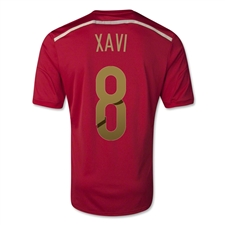 Adidas Spain 'XAVI 8' Home 2014 Replica Soccer Jersey (Victory Red/Light Football Gold/Toro)
