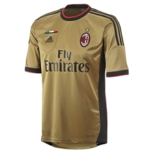 Adidas AC Milan Third 2013-2014 Replica Soccer Jersey (Dark Gold/Black)