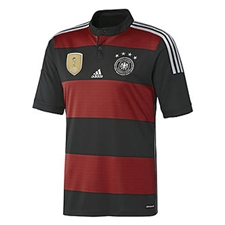 Adidas Germany 4 Stars Away 2014 Replica Soccer Jersey (Black/Victory Red/Metallic Silver)