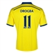Adidas Chelsea 'DROGBA 11' Away '14-'15 Replica Soccer Jersey (Yellow/Chelsea Blue)