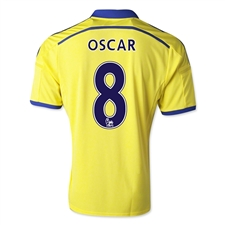 Adidas Chelsea 'OSCAR 8' Away '14-'15 Replica Soccer Jersey (Yellow/Chelsea Blue)