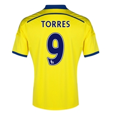 Adidas Chelsea 'TORRES 9' Away '14-'15 Replica Soccer Jersey (Yellow/Chelsea Blue)