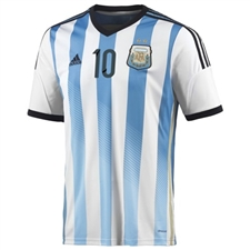 Adidas Argentina 'MESSI 10' Home 2014 Replica Soccer Jersey (White/Columbia Blue/Argentina Blue/Black)