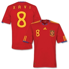 Adidas Adult Spain '09-'11 Home XAVI #8 Replica Jersey (ScarletRed/Gold)