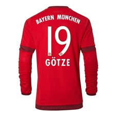 Adidas Bayern Munich 'GOTZE 19' Home '15-'16 Long Sleeve Replica Soccer Jersey (FCB True Red/Craft Red)
