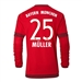 Adidas Bayern Munich 'MULLER 25' Home '15-'16 Long Sleeve Replica Soccer Jersey (FCB True Red/Craft Red)