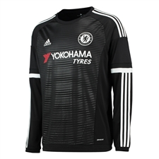 Adidas Chelsea Third '15-'16 Long Sleeve Replica Soccer Jersey (Black/White)