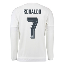 Real Madrid 'RONALDO 7' Home '15-'16 Long Sleeve Replica Soccer Jersey (White/Clear Grey)