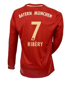 Adidas Bayern Munich 'RIBERY 7' Home '11-'12 Long Sleeve Replica Soccer Jersey (University Red/Metallic Gold)