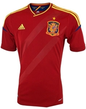 Adidas Spain Home 2011-2013  Replica Soccer Jersey (University Red/Sunshine)