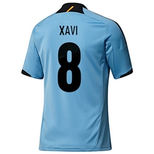 Adidas Spain 'XAVI 8' Away 2012-2013 Replica Soccer Jersey (Light Alaska/Punjab)