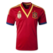 Adidas Spain Youth Home 2013Replica Soccer Jersey (University Red/Sunshine)