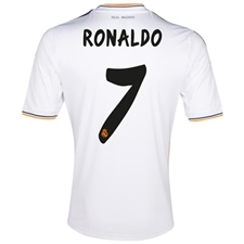 Adidas Real Madrid 'RONALDO 7' Home '13-'14 Replica Soccer Jersey (White/Lead/Orange)