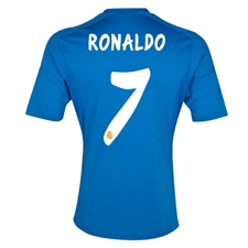 Adidas Real Madrid 'RONALDO 7' Away '13-'14 Replica Soccer Jersey (Air Force Blue/White/Light Orange)