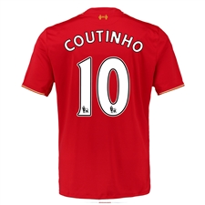New Balance Liverpool 'COUTINHO 10' Home '15-'16 Replica Soccer Jersey (Red)
