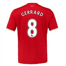New Balance Liverpool 'GERRARD 8' Home '15-'16 Replica Soccer Jersey (Red)