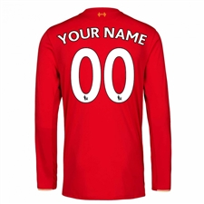 New Balance Liverpool 'CUSTOM' Home '15-'16 Long Sleeve Replica Soccer Jersey (Red)