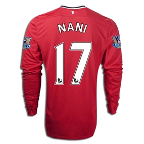 Nike Manchester United 'NANI 17' Home Long Sleeve '2011-2012 Replica Soccer Jersey (Diablo Red/White/Black)