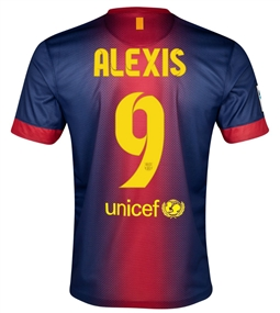 Nike FC Barcelona 'ALEXIS 9' 2012-2013 Home Soccer Jersey (Midnight Navy/Storm Red/Tour Yellow)
