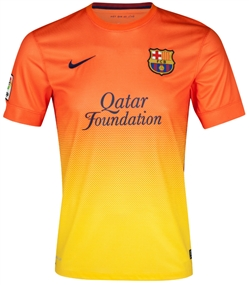 Nike FC Barcelona 2012-2013 Away Soccer Jersey (Safety Orange/Tour Yellow/Midnight Nany)