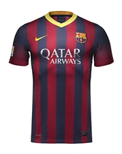 Nike FC Barcelona '13-'14 Home Soccer Jersey (Midnight Navy/Storm Red/Tour Yellow)