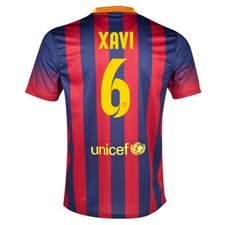 Nike FC Barcelona 'XAVI 6' '13-'14 Home Soccer Jersey (Midnight Navy/Storm Red/Tour Yellow)